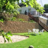 Landscaping with the rock face retaining block