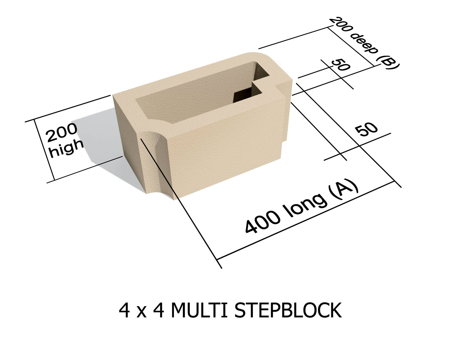 4 x 4 Step block for stairs