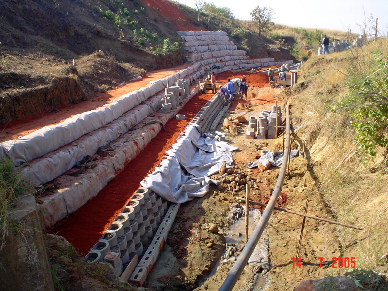 To support an existing canal that was heavily eroded, it was necessary to employ strong measures