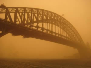 The Sydney Harbour Bridge enveloped in a dust storm in 2009