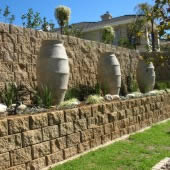 Wall constructed using the Rock Face block