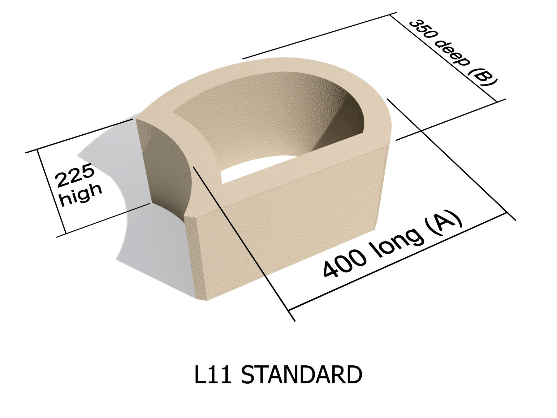 L11 smooth face retaining block