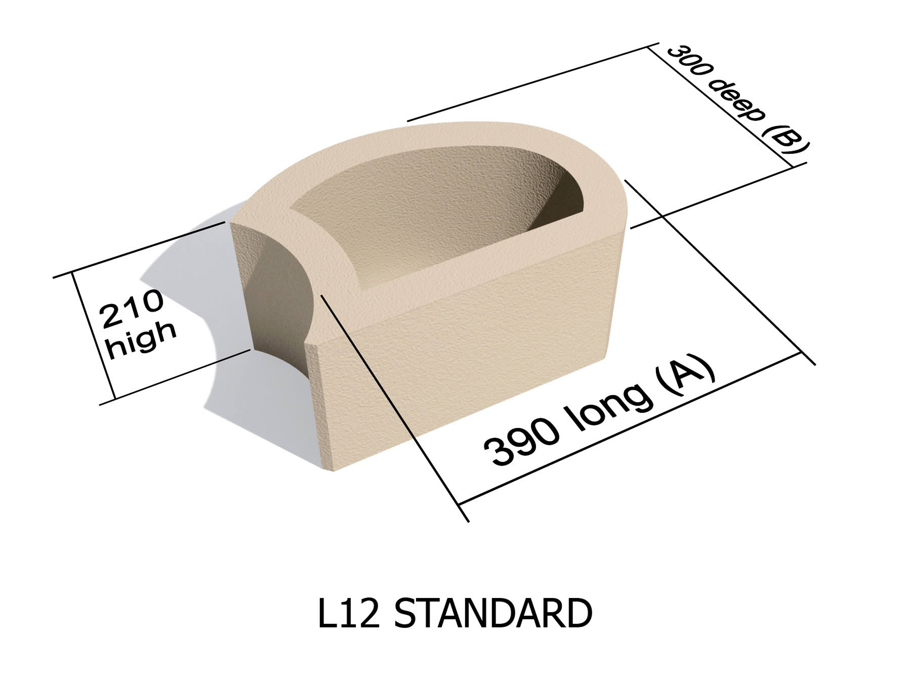 L12 smooth face retaining block