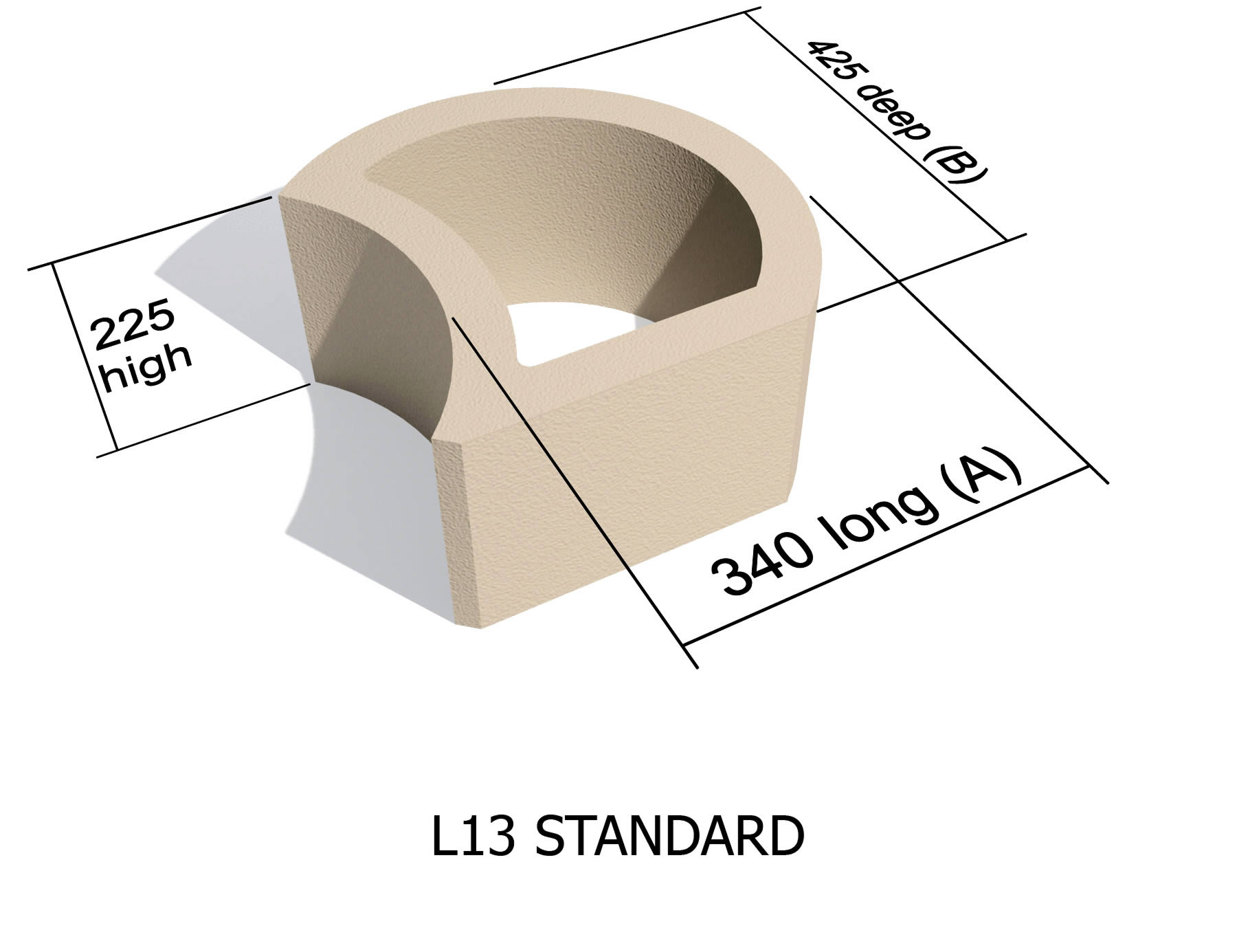 L13 smooth face retaining block