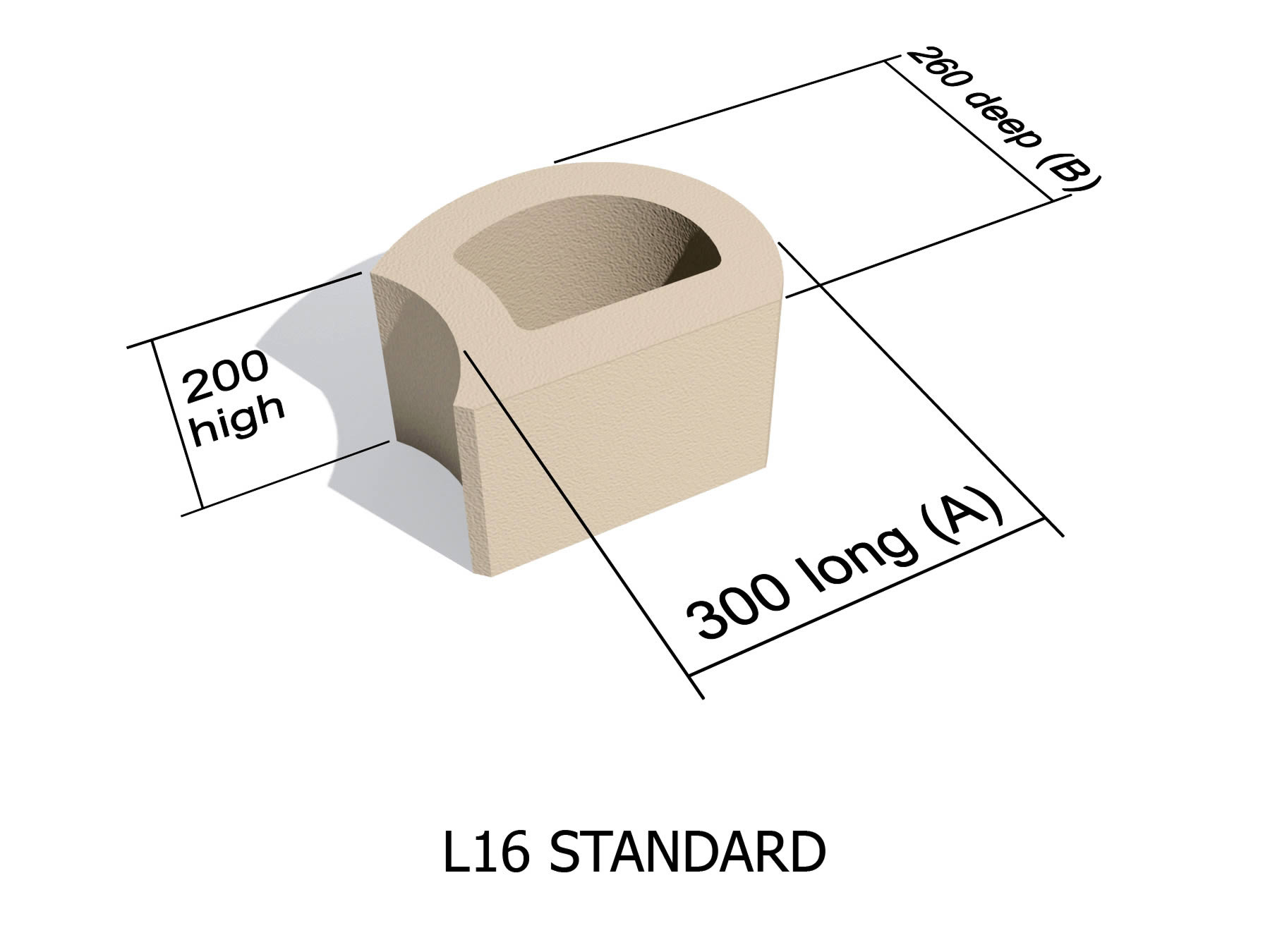 L16 smooth face retaining block
