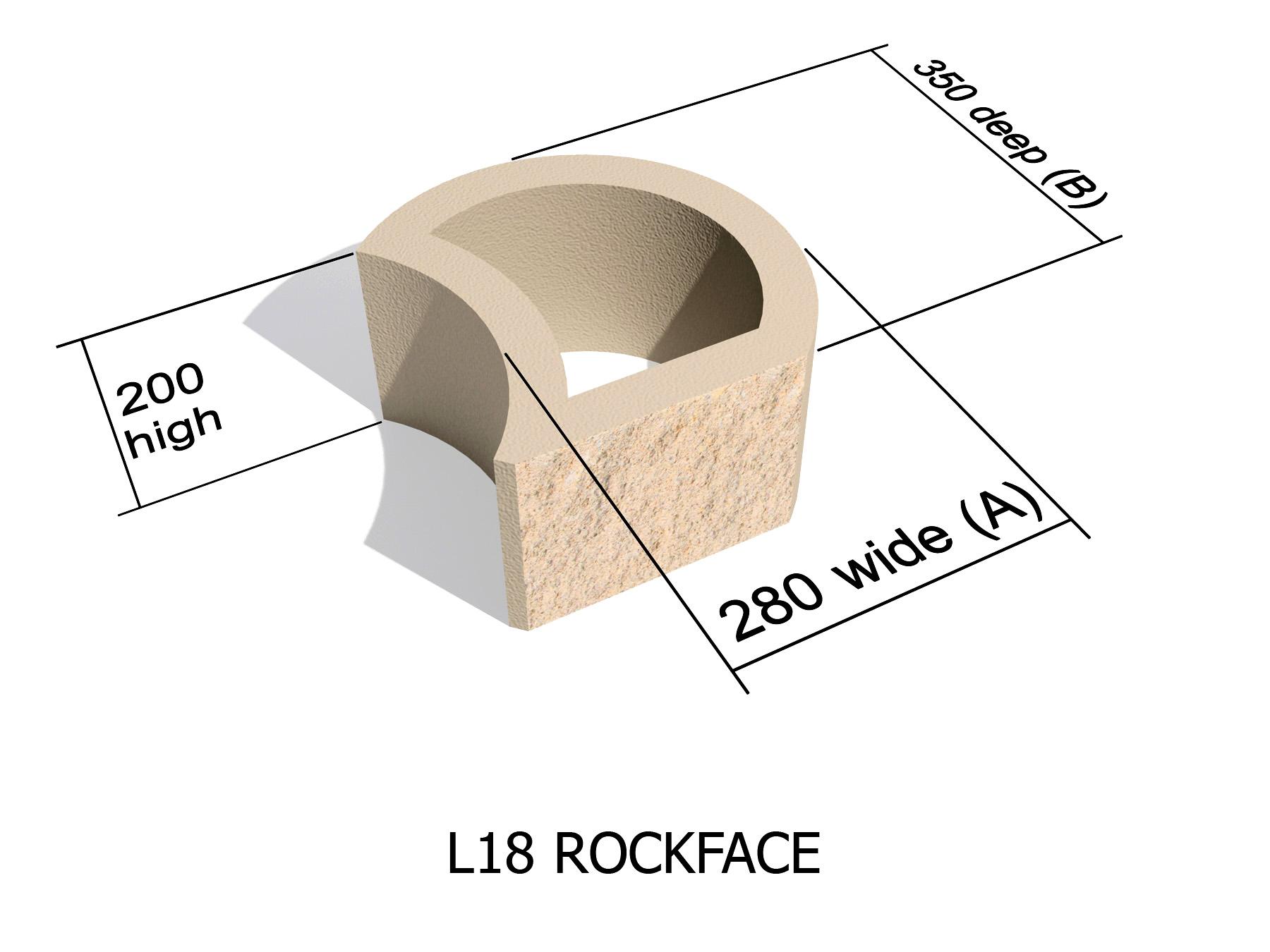 L18 Rock Face retaining block
