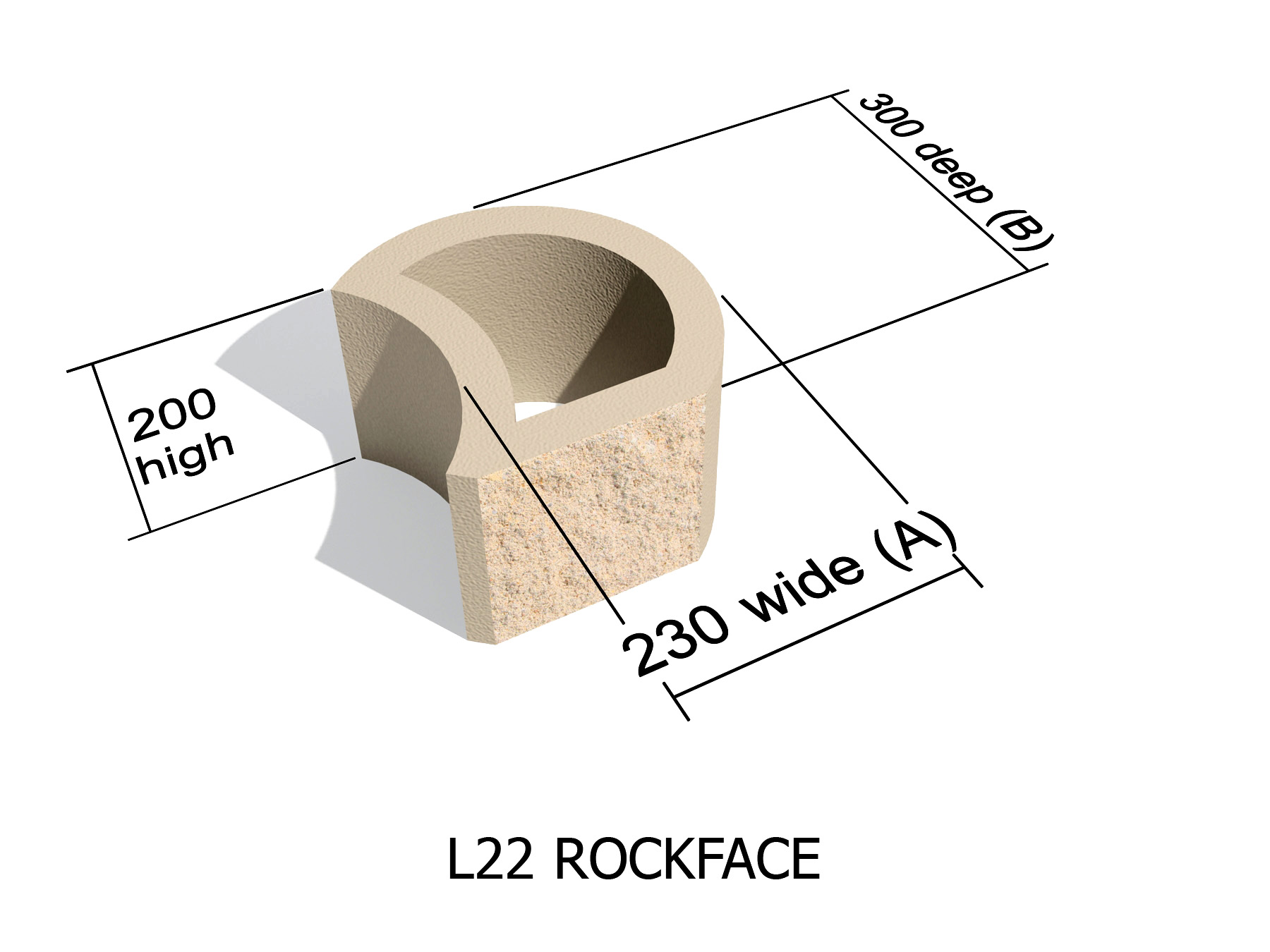 L22 Rock Face retaining block