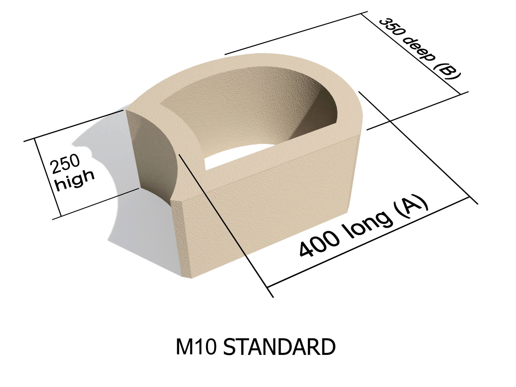 M10 smooth face retaining block