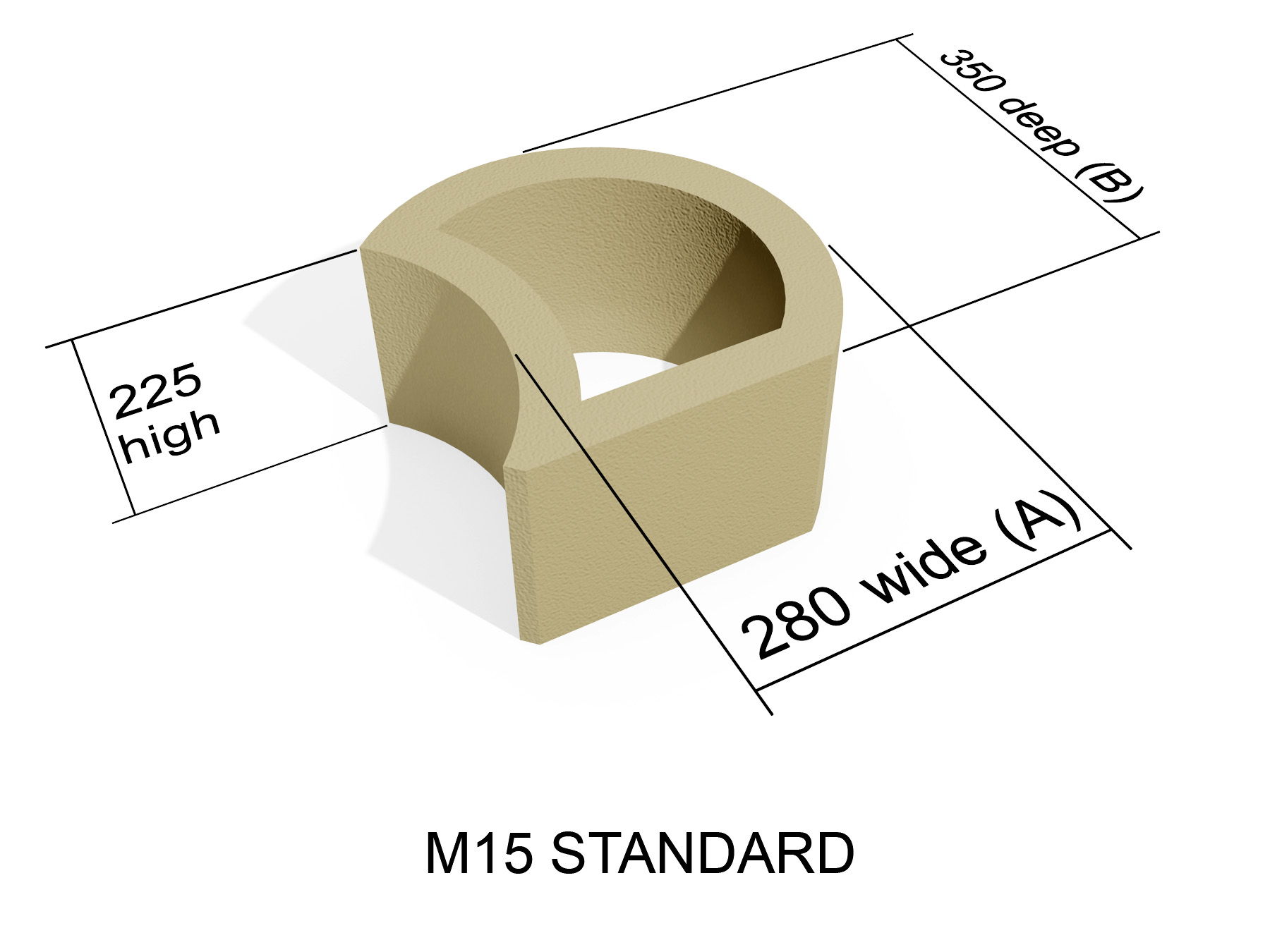M15 smooth face retaining block