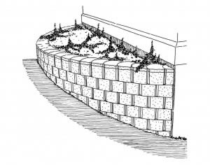 Semi circle retaining wall