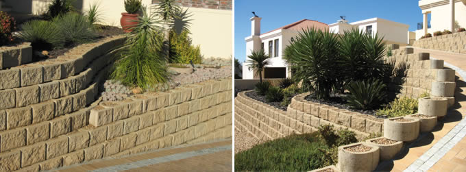 embankments above and below the paved driveway were stabilised with Terraforce L11 rock face blocks in a rustic sandstone colourf