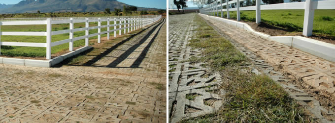 permeable hard lawn pavers were installed between the paddocks