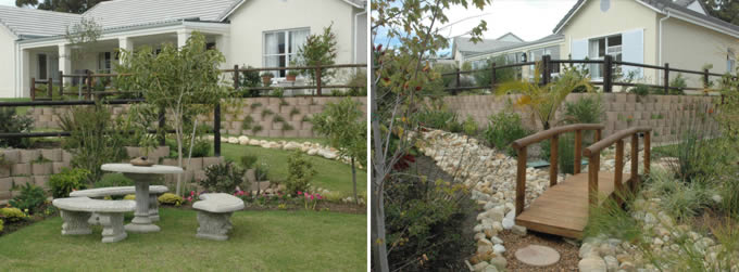 Multiple retaining walls at a retirement home