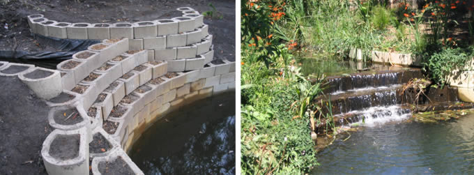Terraforce retaining blocks and Terrafix blocks used for rehabilitation of an urban wetland