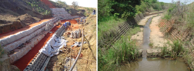 River system rehabilitated with Terraforce retaining blocks and Terracrete blocks