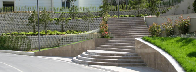 A beautifully landscaped retaining wall at a commercial property