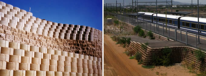 The blocks are available in a standard and rock face finish, here is an example of the standard finish at train tracks and station in Cape Town