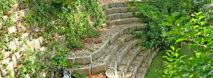 Garden steps and landscaping