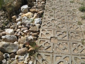 Road erosion control with Terracrete blocks manufactured with the mould