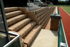 Access stairs to the field