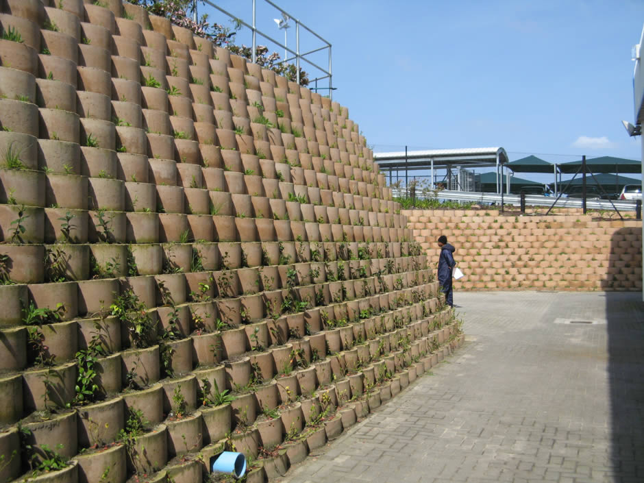 Retaining walls around the facility