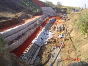 Progress on worst affected side, below feeder canal