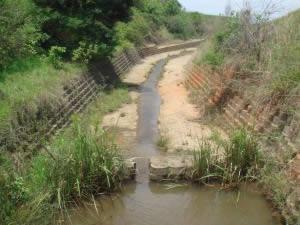 The rehabilitated river. Terraforce L11 blocks