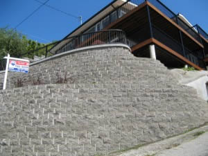 Front view of the the retaining wall