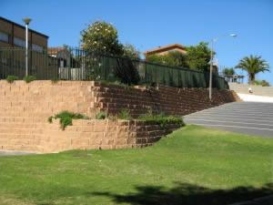 The wall as it runs around the church