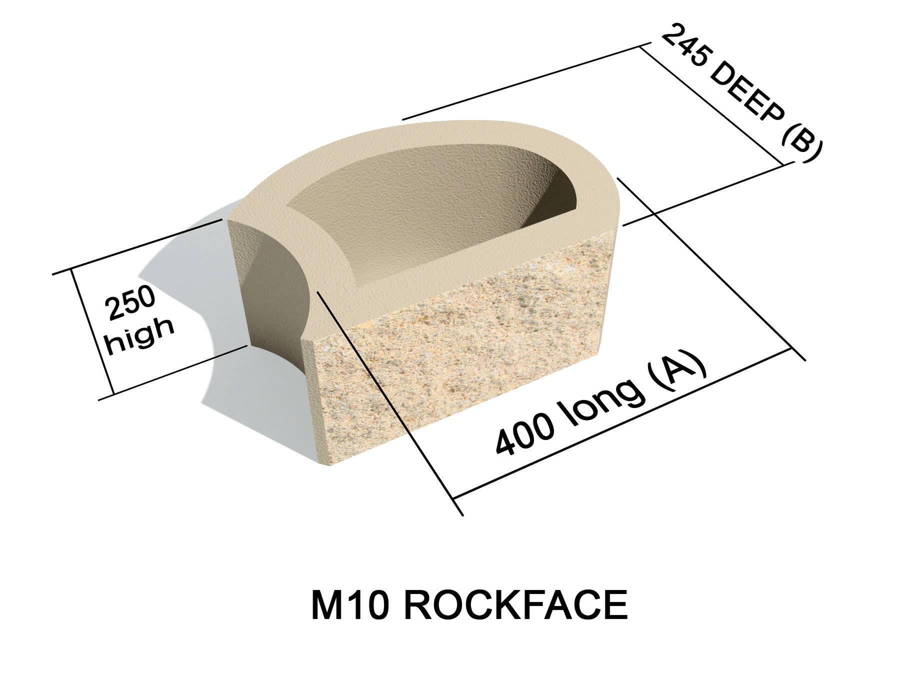 M10 Rock face block