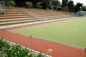 Hockey Pitch with seating and retaining walls