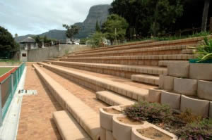 Concrete block seating at a high school