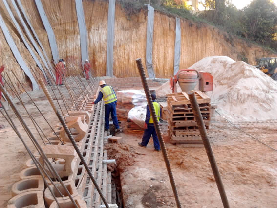 The bottom wall is a double layer of L11 blocks, reinforced with Y16 rebars and concrete up to a height of 3.5m