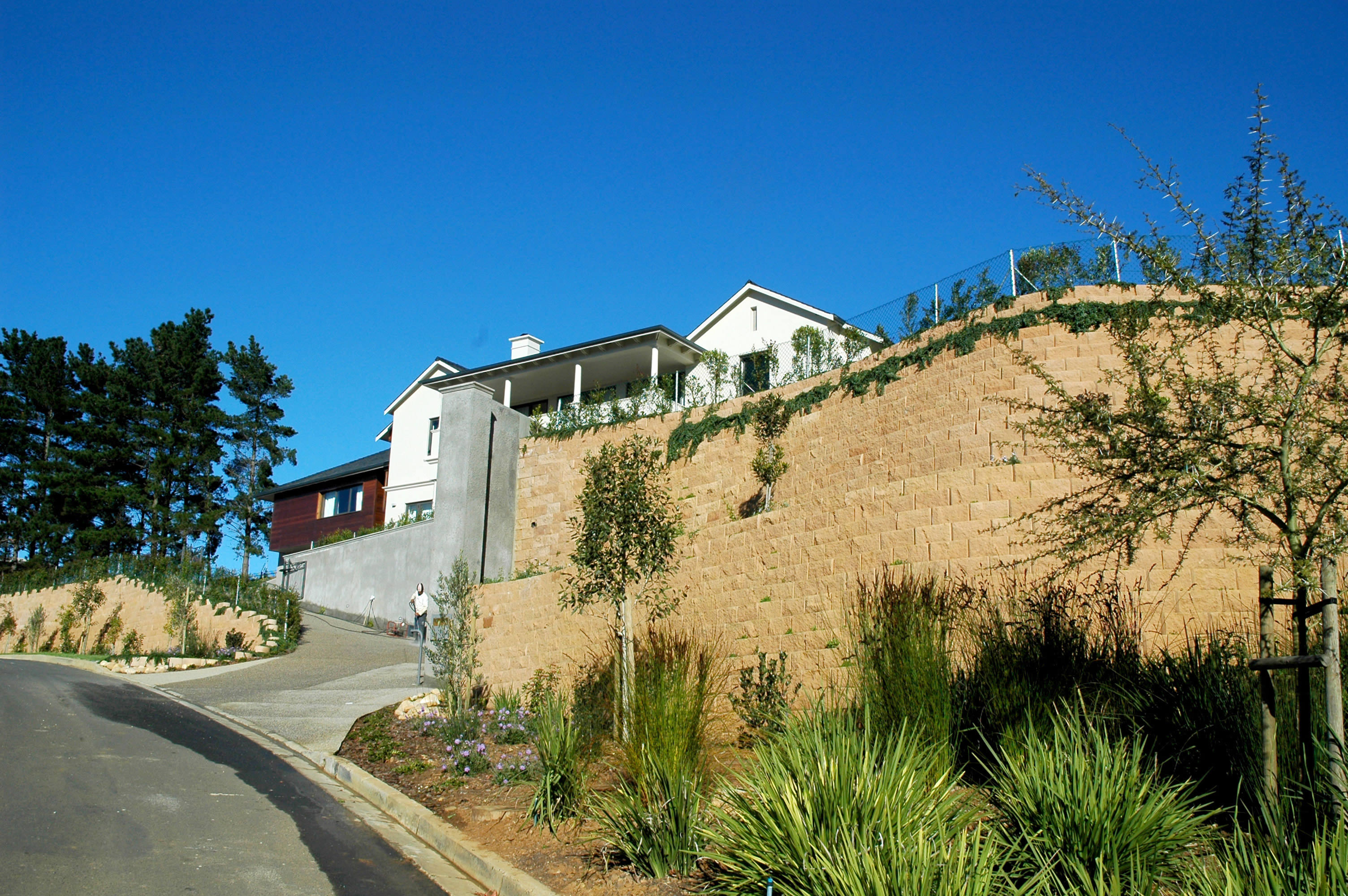Overall, the completed retaining wall shows a high-quality ability to combine function with form: