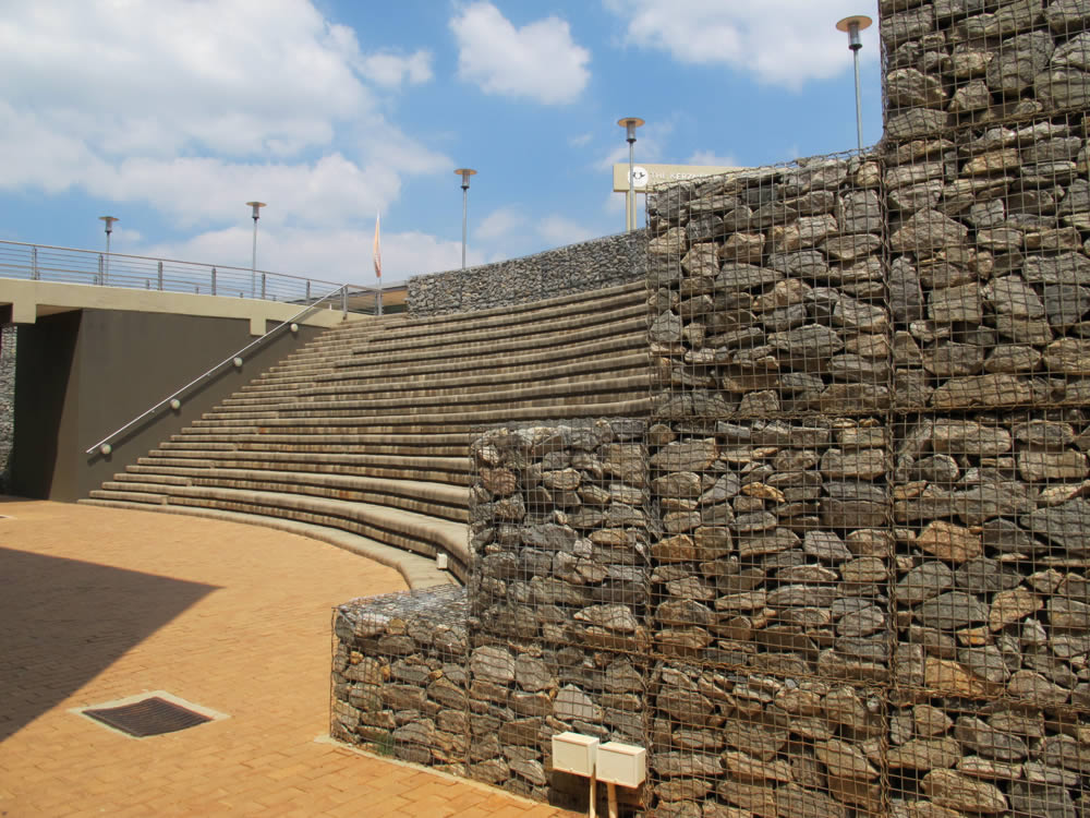 Seating at the University of JHB, combined with Gabions
