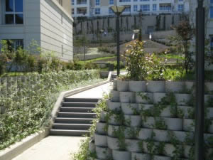 The Terraforce retaining wall system allows planting