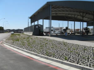 The incorporation of drainage lines along edges of  roadways assist with storm water management