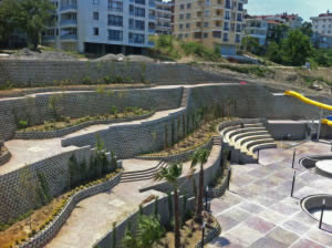 Composite retaining wall at a water park