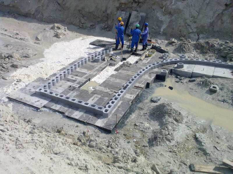 The blocks are laid on foundation below mean sea level