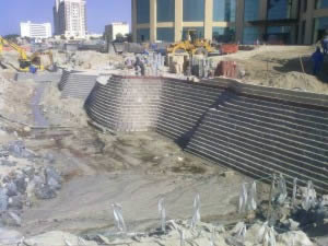 Composite retaining wall with foundation under sea level, in Ajman, Dubai