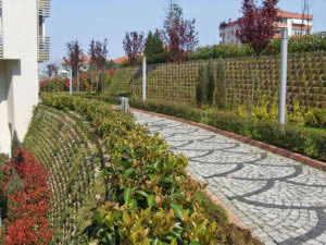 Cut slope retaining wall with good planting