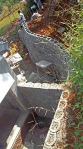 A birds-eye view of the backyard behind the bathroom