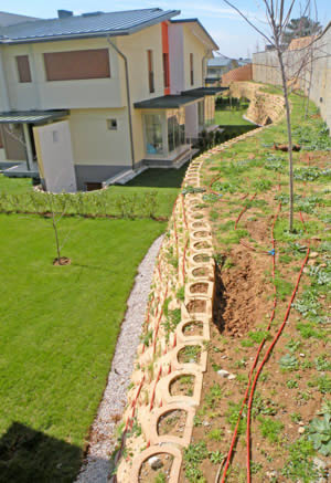 Undulating retaining walls at different heights and levels