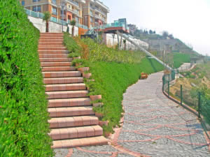 Staircases connect the ramps