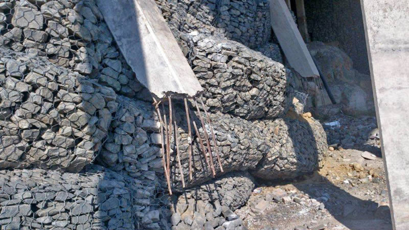 A relatively new gabion collapsed