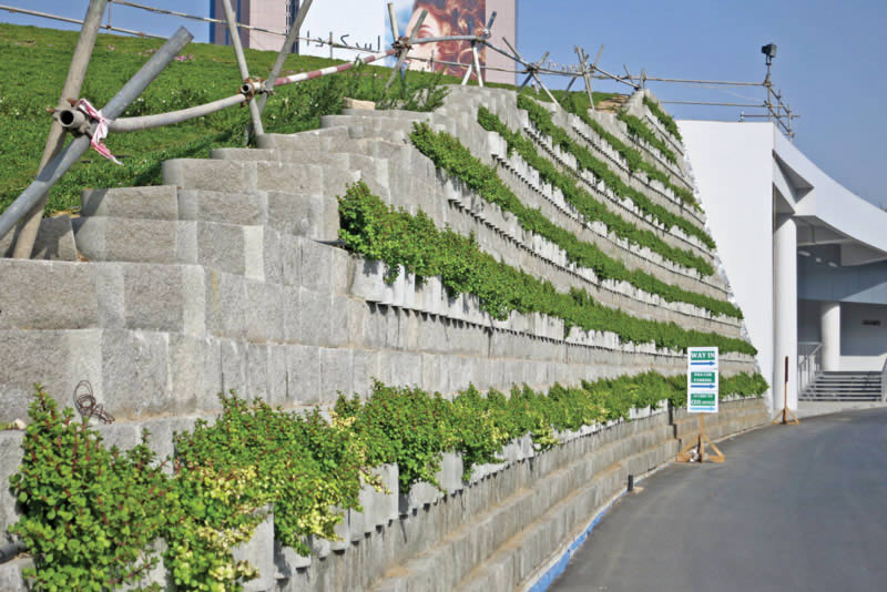 The Terraforce system is akin to a living wall, the unique hollow-core design of the interlocking blocks allowing plants to become a part of the wall