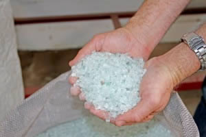 Recycled glass aggregate concrete mix