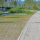 Parking areas paved with permeable pavers