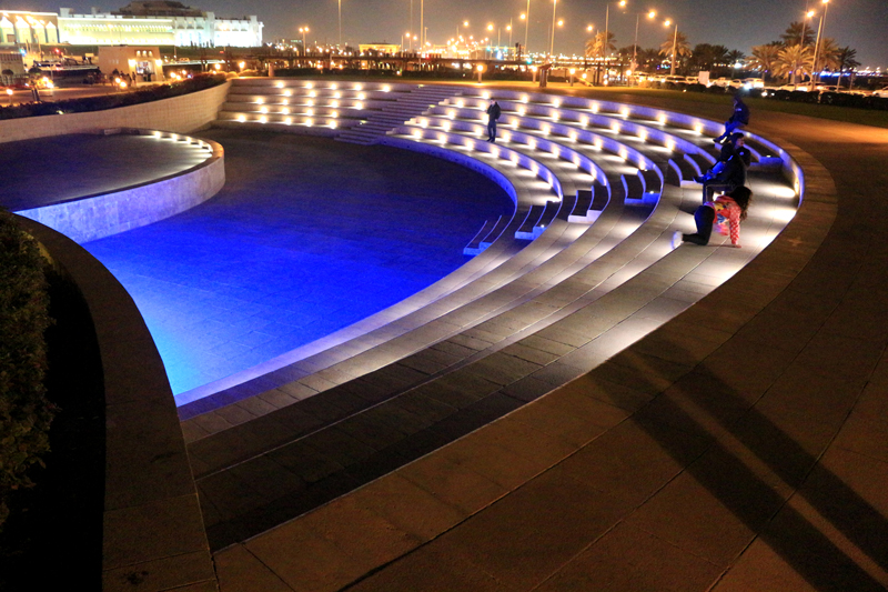 LED lighting was installed at intervals for nighttime ambiance