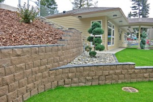 Creative retaining wall design for a child care centre in Canada